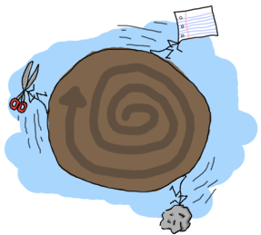 A tiny planet with a rock running after paper running after a pair of scissors which runs after the rock itself.