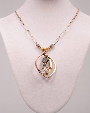 Art By Any Mean's Envision necklace of Abalone hand-formed metals