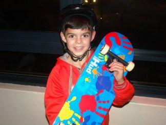 He got a skateboard! Nervous cheer.