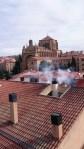 Ausblick nach rechts auf die alte Kathedrale vom Turm des Satans in Salamanca