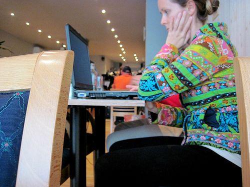 Lauren at an internet cafe