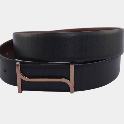 Men's Classic Leather Belt, Dual-tone Black, Botega