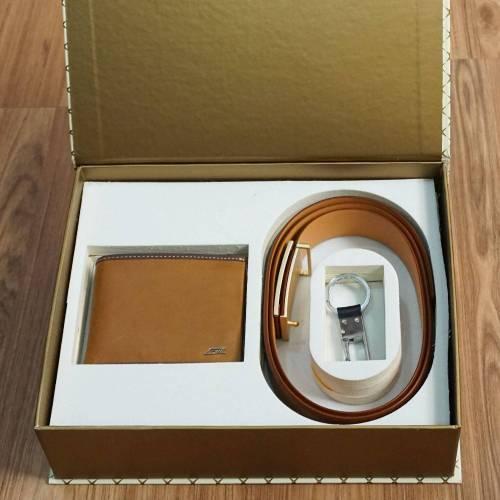 Leather Belt Wallet Combo Tan