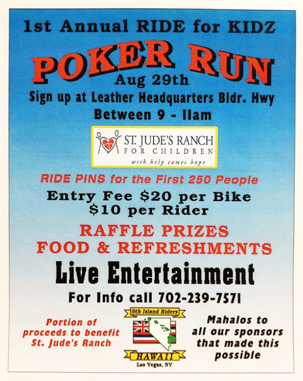 1st Annual RIDE for KIDZ Poker Run on Aug 29th from 9-11