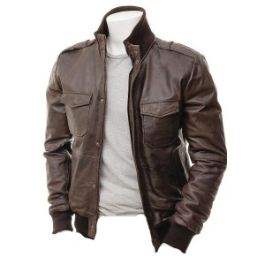 Men's Dark Brown Leather Jacket with Shoulder Patches