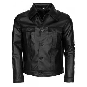 Men Black Biker Leather Jacket with Buttons Style