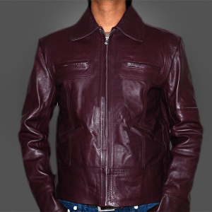 Burgundy Men Leather Jacket
