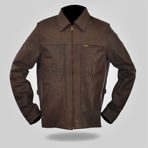 Elegant Brown Classic Leather Jacket