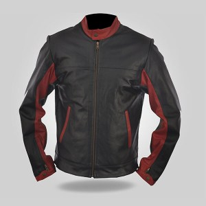 Black & Red Biker Leather jacket for Men