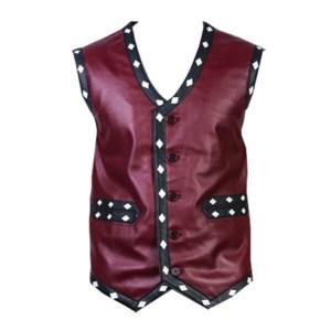 Maroon Leather Vest for Men