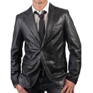 Formal Black Leather Coat for Men