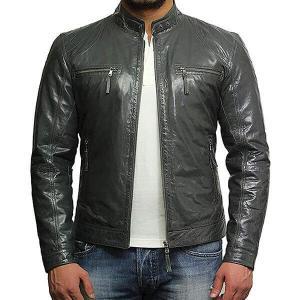 Men Grey Leather Jacket