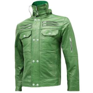 Clover Green Men Leather Jacket