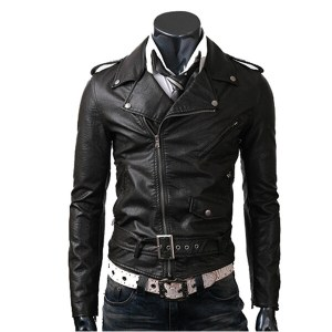 Men Black Belted Leather Jacket