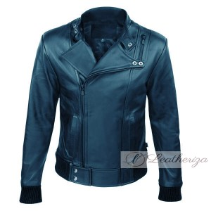 Dark Blue Elegant Stylish Biker Bomber Leather Jacket For Men