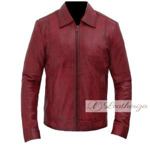 Kayan Dark Red Stylish Men's Leather Jacket