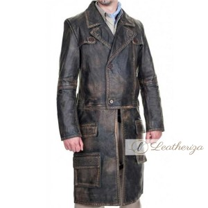 Classical Vintage Brown Leather Trench Coat for Men