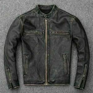 Vintage Style Motorcycle Distressed Black Jacket for Men