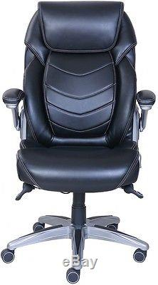 Active Lumbar Support Managers Office Chair Black Bonded Leather True Wellness