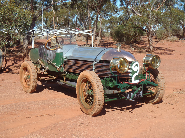"""""""Here's a photo of Peter Briggs' 1904 Napier L48. We're getting it ready for the big event (Lake Perkolilli 1914-2014 Centenary of Speed in Western Australia) in October. The additional photo shows the plates (and the dirt) on the Napier after running across the lake bed."""" -- Graeme Cocks (Briggs Family Collection)"""
