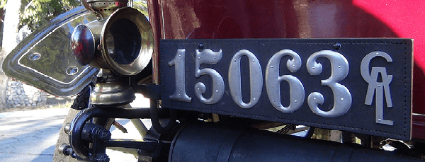 1907 Buick Model F Touring license plate close-up.
