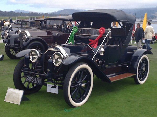 """1913 Pierce-Arrow 38-C Runabout at Pebble Beach Concours d'Elegance, 2010. """"The license plates you made for the car are a work of art. We want to thank you for the quick turnaround and the craftsmanship that you put into them. We're already planning our next set. They really look great on the car."""" -- John Bertolotti"""