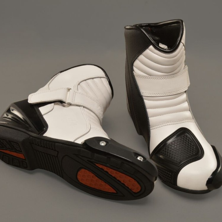 Black And White Motorcycle Boots