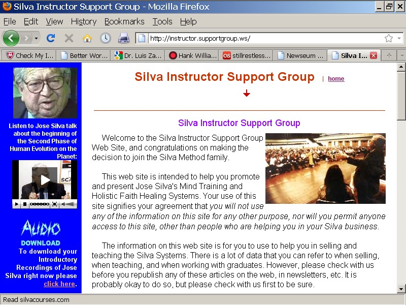 Silva Instructor Support Group Web Site