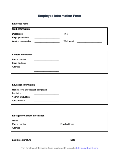 Create a detailed list of vendor contacts that includes product or service descriptions, ratings, contract dates, and room for additional notes. Employee Information Form Leave Board