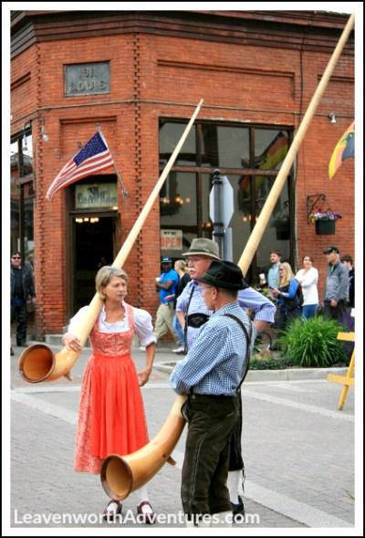 Alphorns Played at Maifest in Leavenworth, WA. Follow my Leavenworth Adventures at LeavenworthAdventures.com.