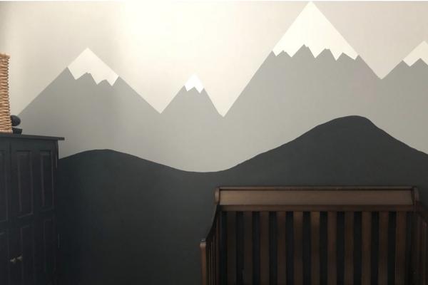 Mountain mural nursery room
