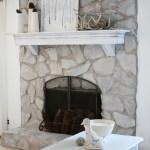 Whitewashing A Stone Fireplace With Grey Paint Land Of Laurel