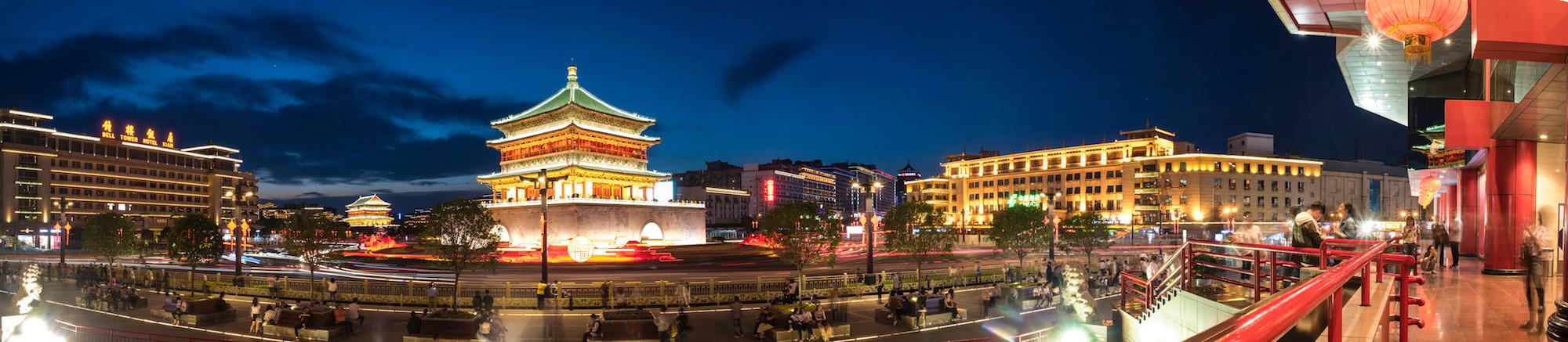 Panorama of Xi'an, China at night