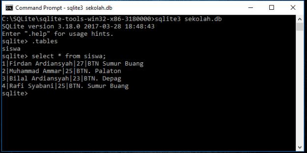 Operator Limit Di Database SQLite - Lebak Cyber