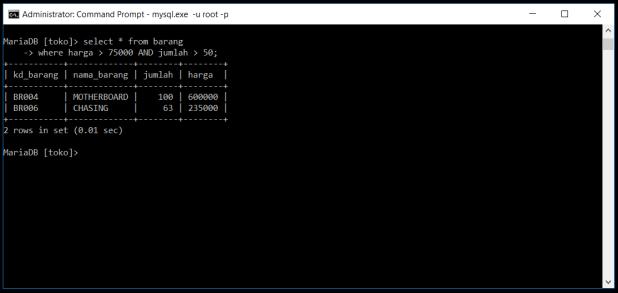 Kondisi And Di Database MySQL