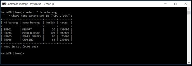 Kondisi NOT Di Database MySQL