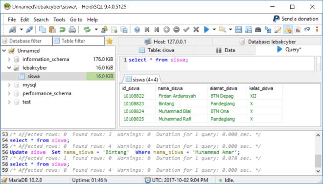Perintah Update Data Di Database MariaDB