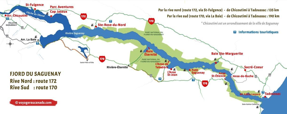 Carte routière de la rive nord et de la rive sud du Fjord du Saguenay