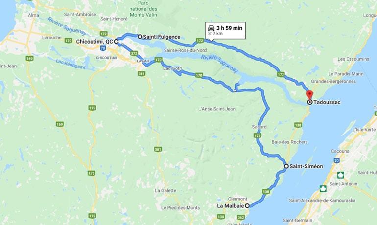 Itinéraire routier pour admirer la rive nord et la rive sud de la Rivière Saguenay, de La Malbaie à Tadoussac en passant par Chicoutimi