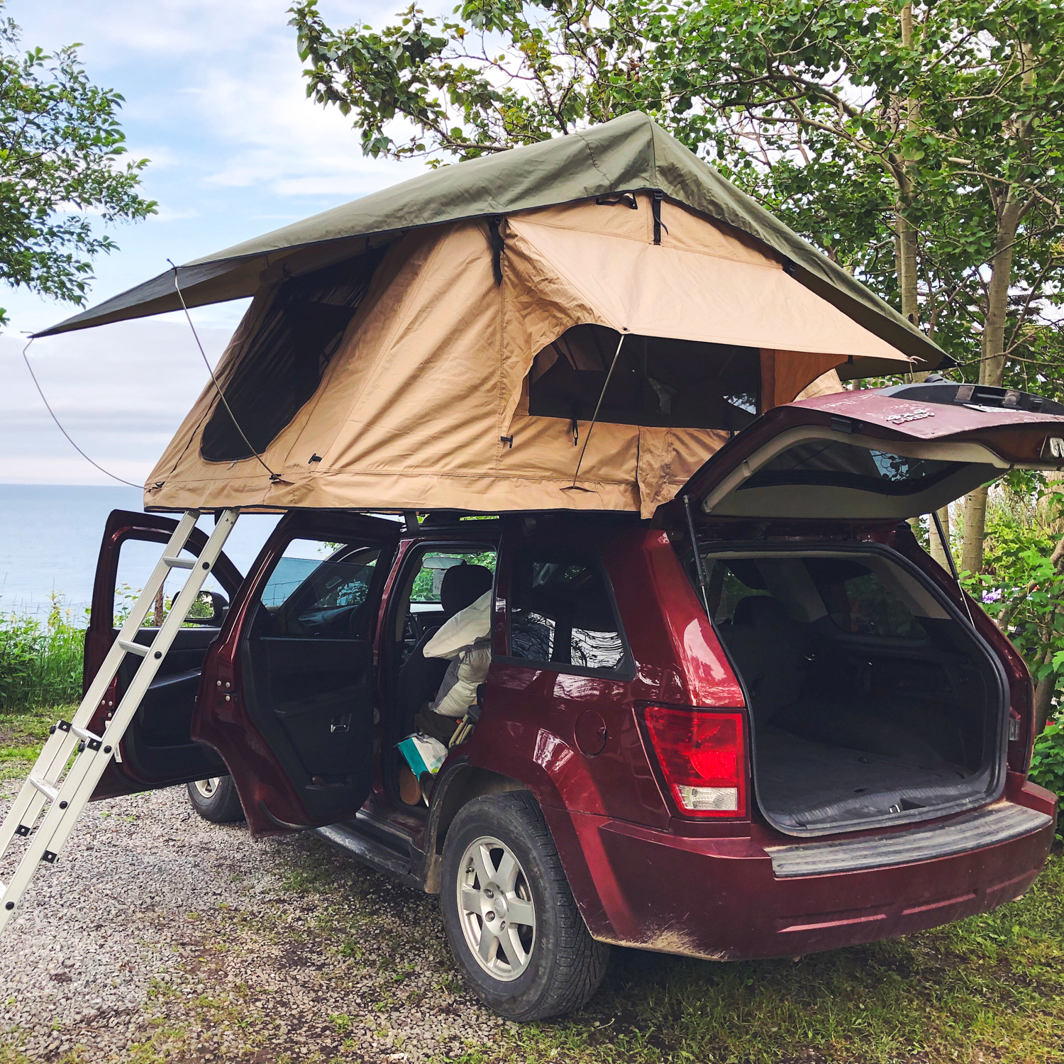 Soft roof tent rental with Le Baroudeur to experience the van life