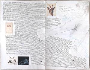 Le bain de Diane, Pierre Klossowski, 2013 Imprersión, punta-seca, tinta, grafito y pastel s.papel 140 x 180 cm