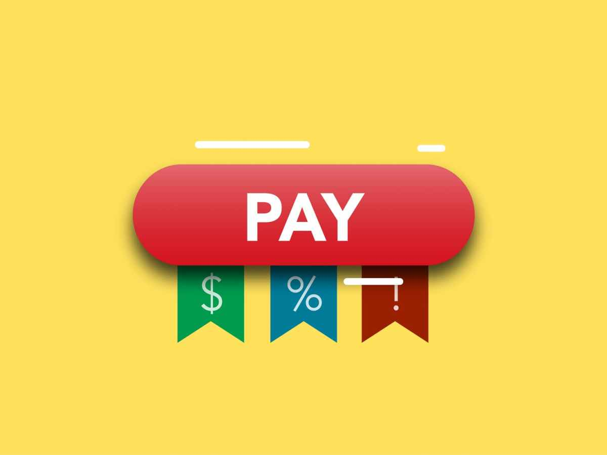 illustration of payment concept for percents currency and information