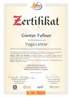Zertifikat Günter Fellner Yogaakademie