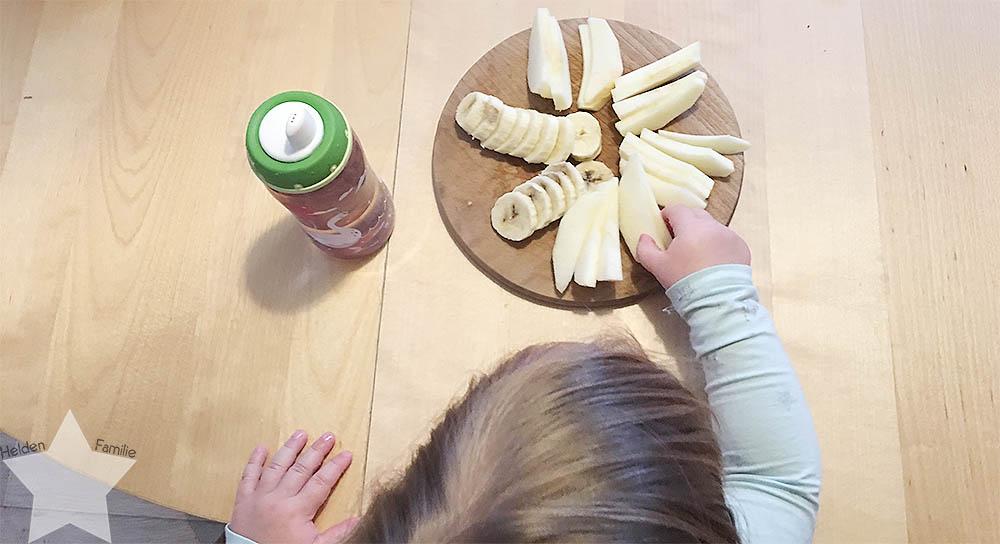Wochenende in Bildern - Nähprojekte & Schneegestöber - Obst-Snack für das Kleinkind