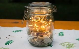Wochenende in Bildern - Hochzeit - Deko Licht im Glas - schlichte grüne Deko