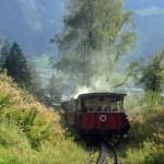 Dampfzahnradbahn von hinten