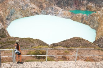 Milky blue lake at the top of the Kelimutu crater