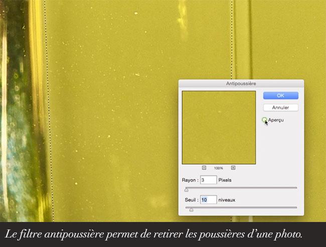 Le filtre antipoussière permet de retirer les poussières d'une photo.