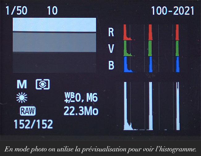 En mode photo on utilise la prévisualisation pour voir l'histogramme.