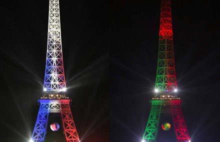 Duas Tour Eiffel com as cores dos dois finalistas do Euro 2016